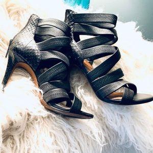 Donald J. Pliner black snake heels size 7